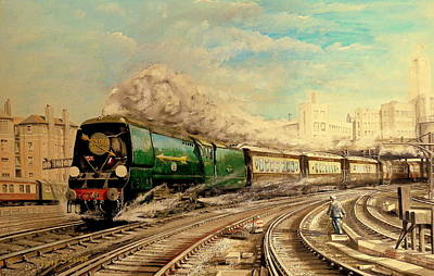 En Route Painting - The Golden Arrow Leaves Victoria by Tony Sussex