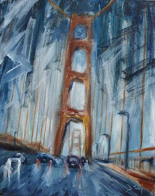 Nightime Painting - The Golden Gate by Donna Tuten