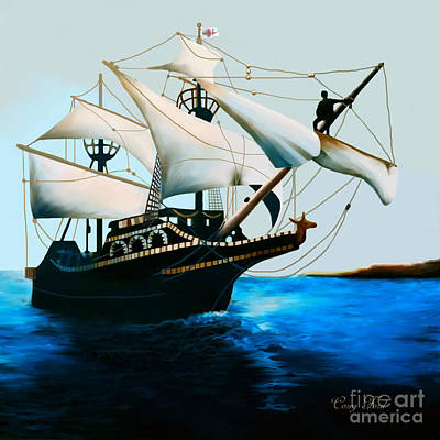 Historic Schooner Painting - The Golden Hind by Corey Ford