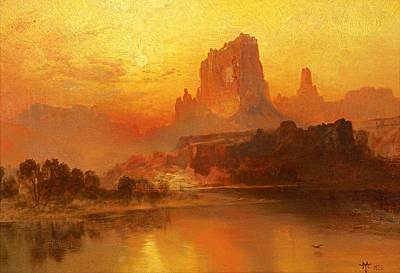 Canyon Painting - The Golden Hour  by Thomas Moran