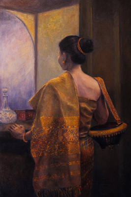 Laos Painting - The Golden Shawl by Sompaseuth Chounlamany