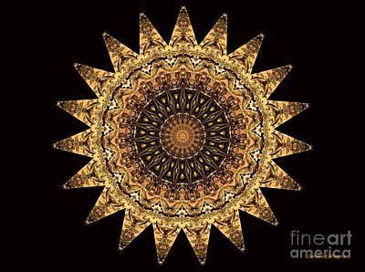 Tibetan Buddhism Mixed Media - The Golden Sun Mandala by Sandra Gallegos