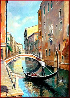 A Summer Evening Landscape Painting - The Gondola by Vaccaro