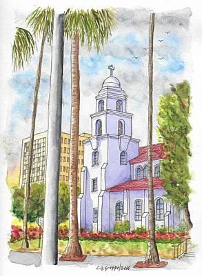 Beverly Hills Painting - The Good Shepherd Catholic Church In Beverly Hills, California by Carlos G Groppa