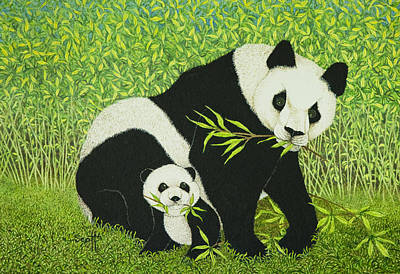 Panda Bear Painting - The Good Times by Pat Scott
