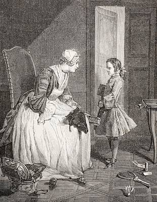 The Governess, After A Work By Chardin Print by Vintage Design Pics