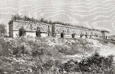 Restoration Drawing - The Governor S Palace, Uxmal, Mexico by Vintage Design Pics