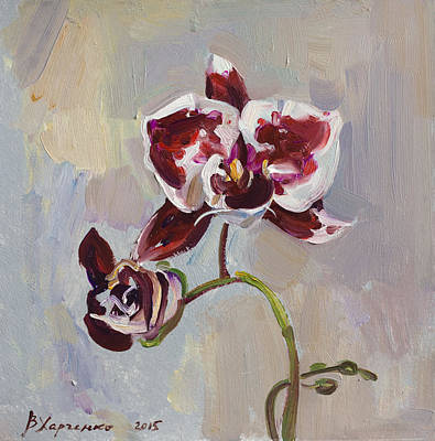 Orchid Art Painting - The Graceful by Victoria Kharchenko