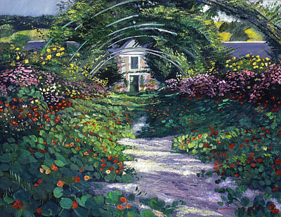 Pink Painting - The Grand Allee Giverny by David Lloyd Glover