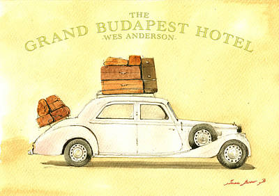 The Grand Budapest Hotel Watercolor Painting Print by Juan  Bosco