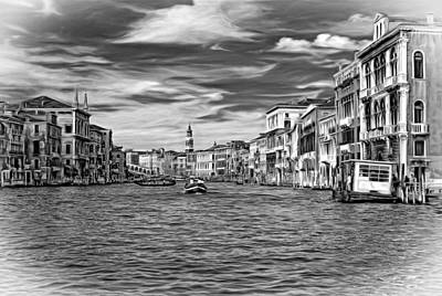 The Grand Canal - Paint Bw Print by Steve Harrington