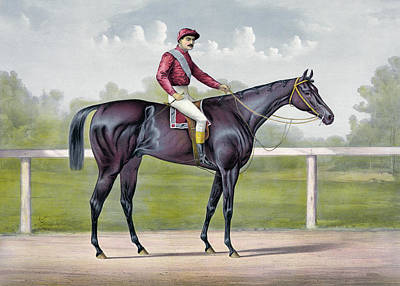 Jockey Drawing - The Grand Racer Kingston  by Currier and Ives