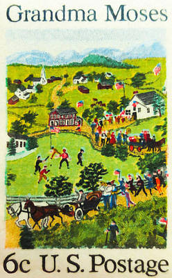 July Painting - The Grandma Moses Stamp by Lanjee Chee