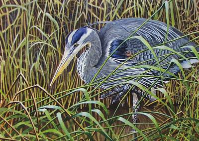 Great Blue Heron Painting - The Great Blue Heron by Greg and Linda Halom