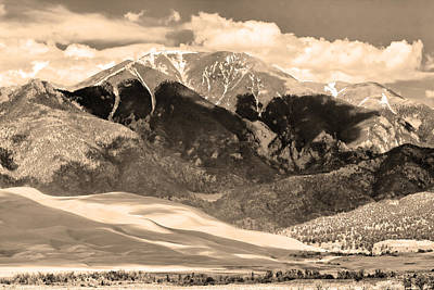 The Great Colorado Sand Dunes In Sepia Print by James BO  Insogna