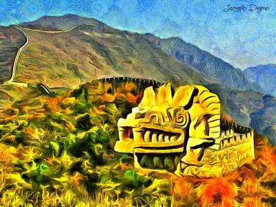 Dragon Painting - The Great Dragon Of China by Leonardo Digenio