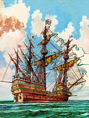 Ship. Galleon Painting - The Great Harry, Flagship Of King Henry Viii's Fleet by Peter Jackson