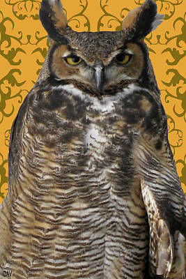 The Great Hored Owl Print by Debra     Vatalaro