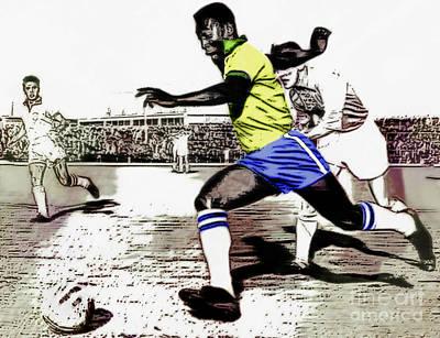 Pele Digital Art - The Great Pele - Soccer Star by Ian Gledhill