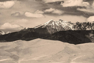 The Great Sand Dunes And Sangre De Cristo Mountains - Sepia Print by James BO  Insogna