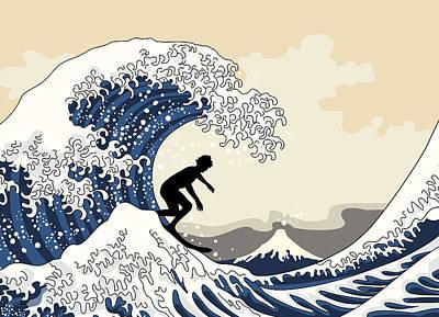 The Great Surfer Off Kanagawa Print by Julia Jasiczak