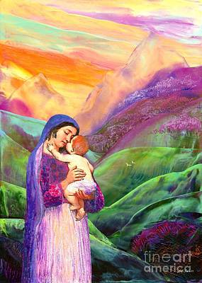 Magenta Painting - Virgin Mary And Baby Jesus, The Greatest Gift by Jane Small