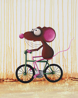 Mice Painting - The Green Bike by Lucia Stewart