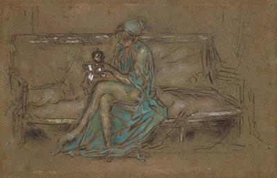 Tonalist Pastel - The Green Cap by James Abbott McNeill Whistler