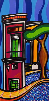 Modern Art Painting - The Green Door by Mary Tere Perez
