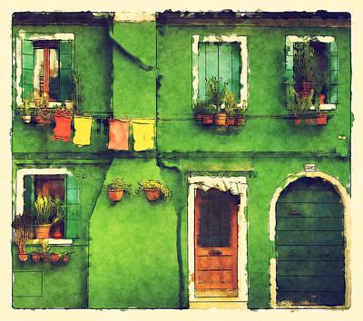 The Rustic Green House Print by BONB Creative