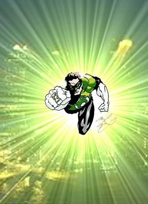 Super Hero Drawings Drawing - The Green Lantern by Michael Dijamco