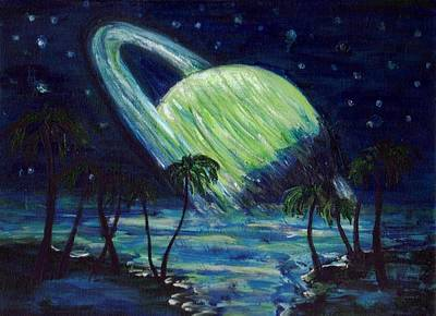Stars Painting - The Green Planet by Mary Sedici