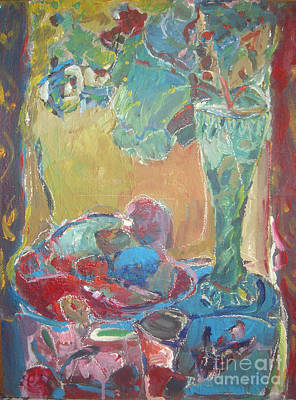 Table Cloth Painting - The Green Vase by Joseph Mamos