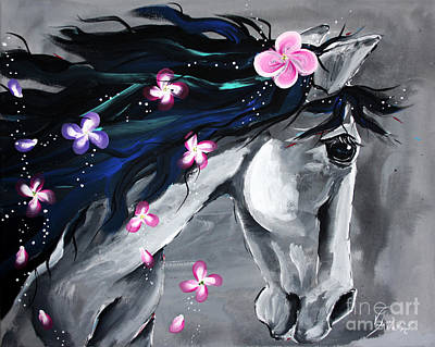 Horses Painting - The Grey - Horse Art By Valentina Miletic by Valentina Miletic