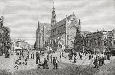 Harlem Drawing - The Grote Kerk Or St.bavokerk In The by Vintage Design Pics