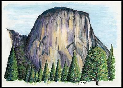 Yosemite National Park Drawing - The Guardian - El Capitan by Ron Abbott