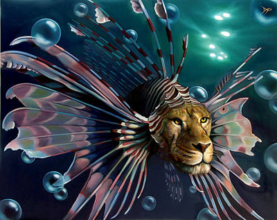 Lionfish Painting - The Guardian by Patrick Anthony Pierson
