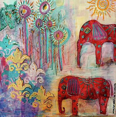Elephant Mixed Media - The Guardians Of Night And Day by Mimulux patricia no