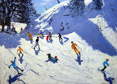 Skiing Painting - The Gully by Andrew Macara