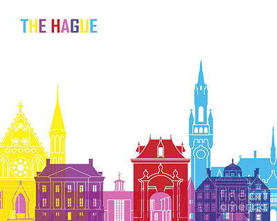 Netherlands Painting - The Hague Skyline Pop by Pablo Romero