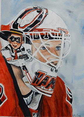 National Hockey League Painting - The Hamburgler by Betty-Anne McDonald