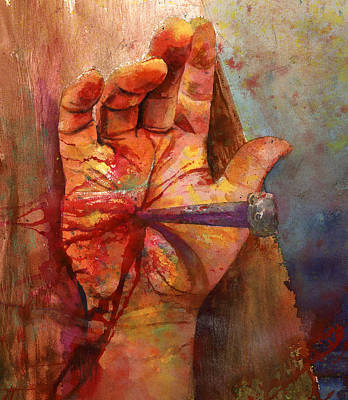 Crucifix Painting - The Hand Of God by Andrew King
