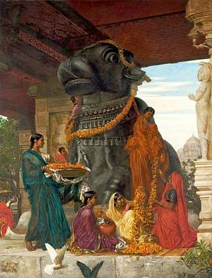 Tanjore Painting - The Handmaidens Of Sivawara Preparing  by MotionAge Designs