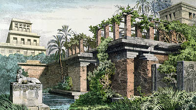 Babylon Painting - The Hanging Gardens Of Babylon by Ferdinand Knab
