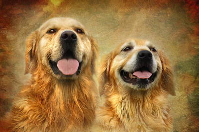 Puppy Digital Art - The Happy Couple by Trudi Simmonds