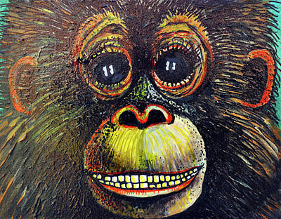 Monkey Painting - The Happy Monkey by Bob Crawford