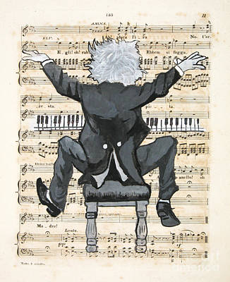 Caricature Painting - The Happy Pianist by Paul Helm