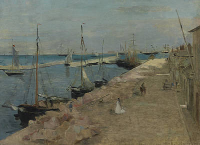 1871 Painting - The Harbor At Cherbourg by Berthe Morisot
