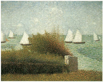 Sailboats In Harbor Painting - The Harbor At Grandcamp by Georges Seurat