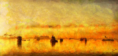 Seascape Painting - The Harbor by George Rossidis